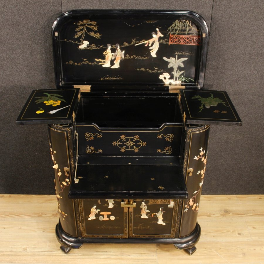 Antique French lacquered and painted chinoiserie wet bar