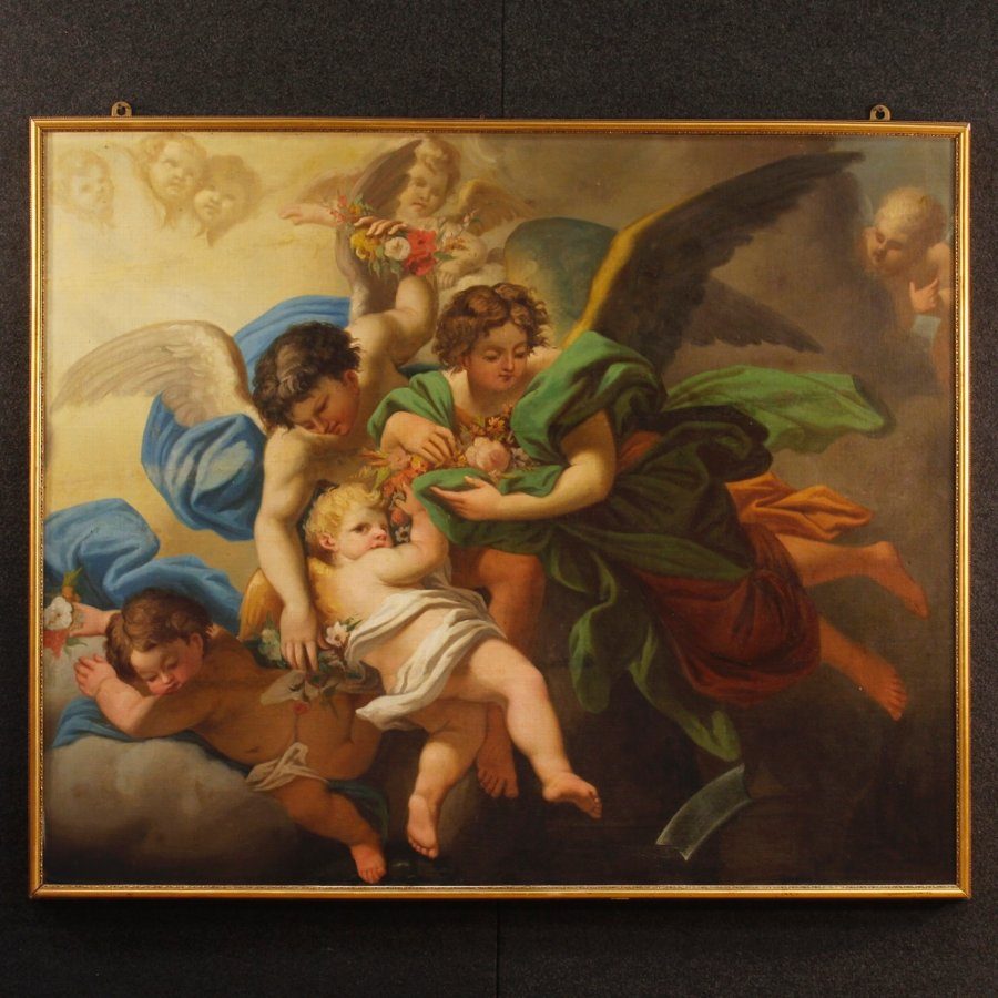 Antique Italian painting Little angels of the 19th century