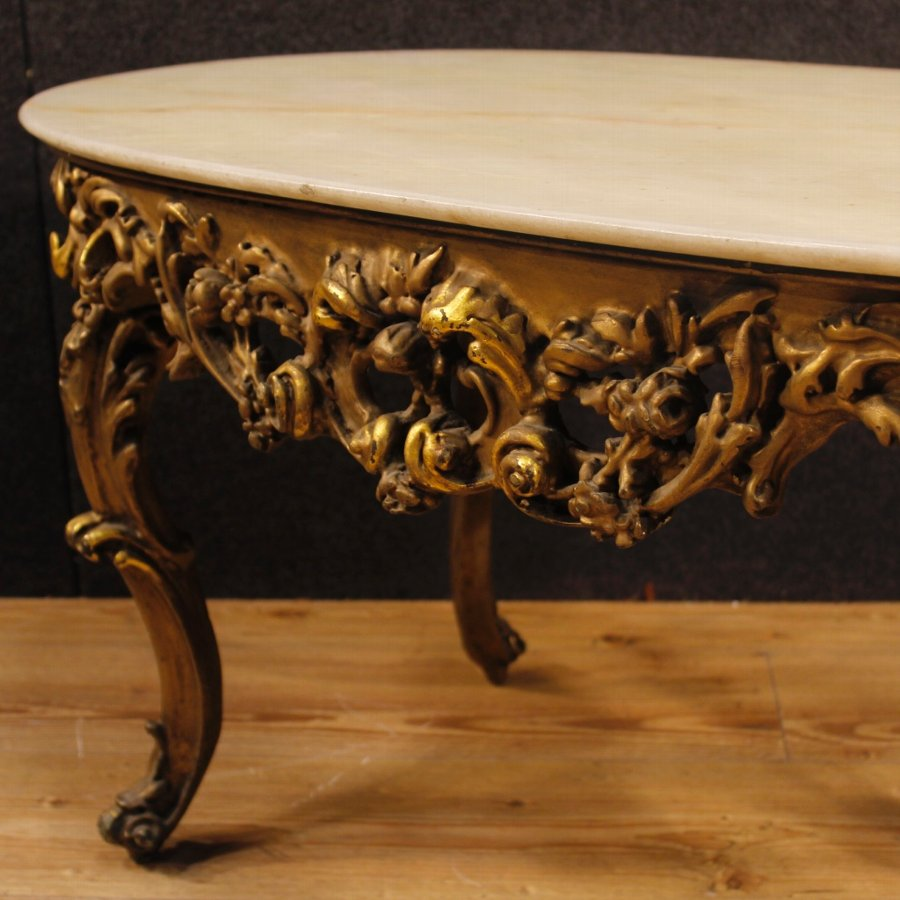 Antique Italian golden coffee table with onyx top