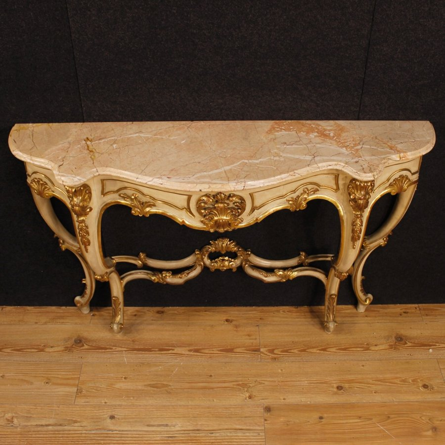 Antique French lacquered and golden console table with marble top