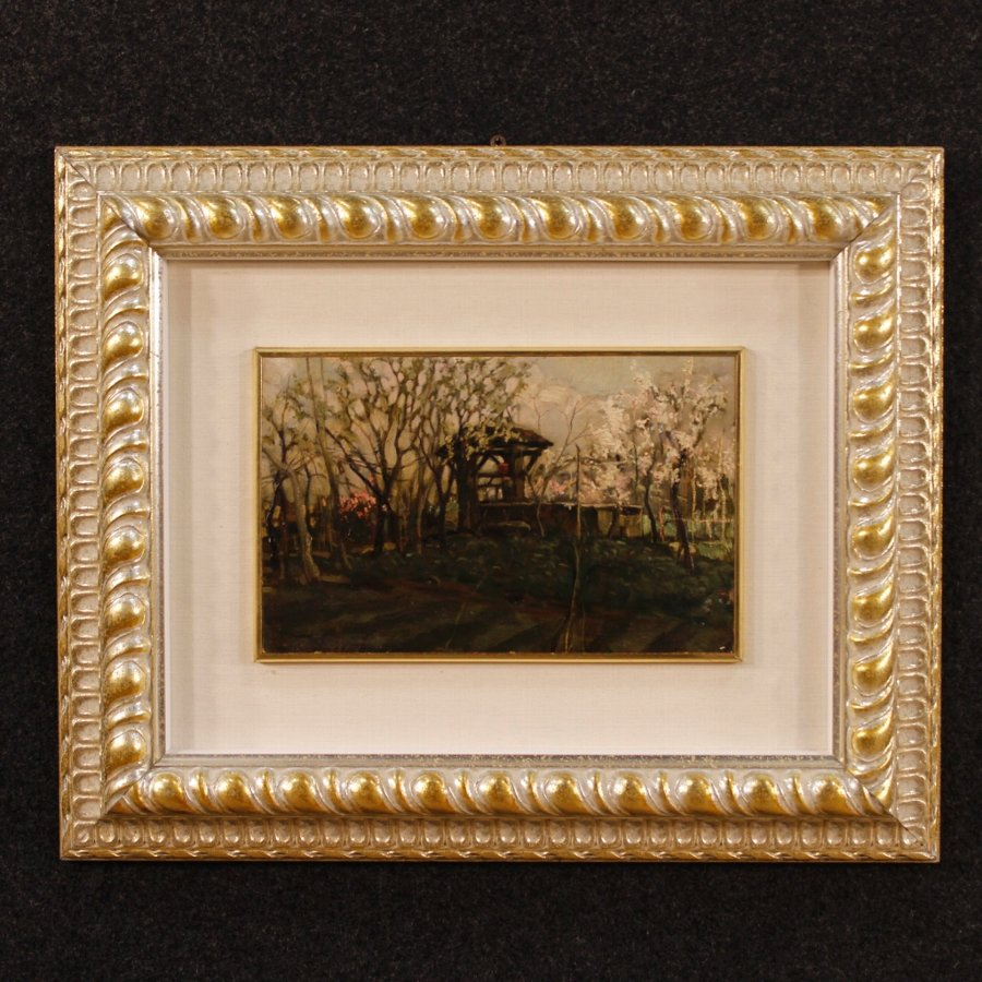 Italian signed landscape painting with silvered frame