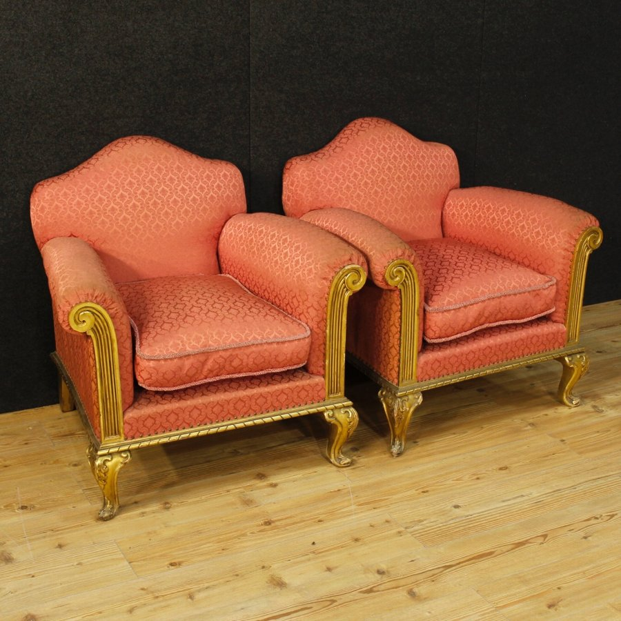 Pair of golden Spanish armchairs