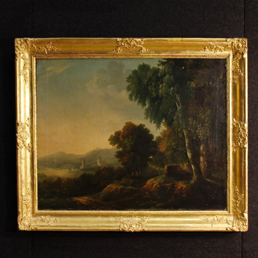 Antique French painting landscape with architecture from 19th-century