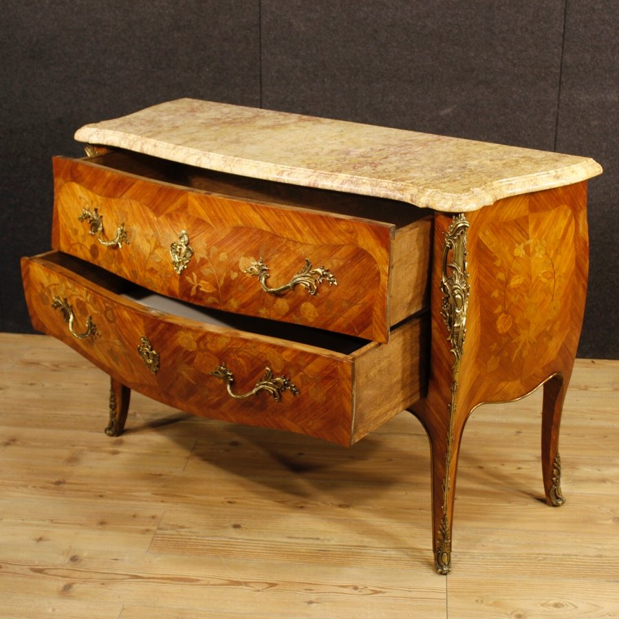 Antique French inlaid dresser in Louis XV style with marble top