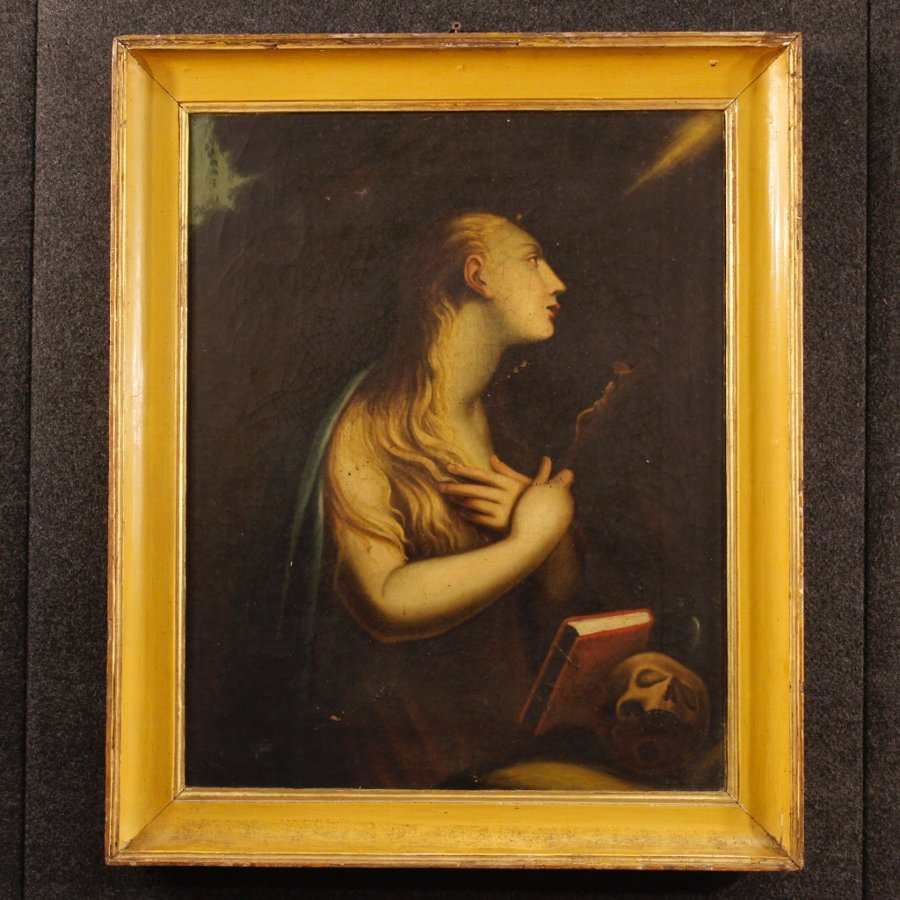 Antique religious painting Mary Magdalene of the 18th century