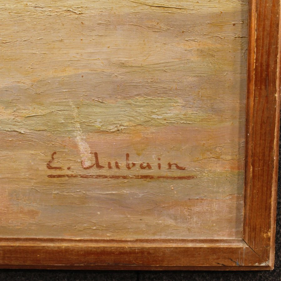 Antique French signed painting depicting landscape