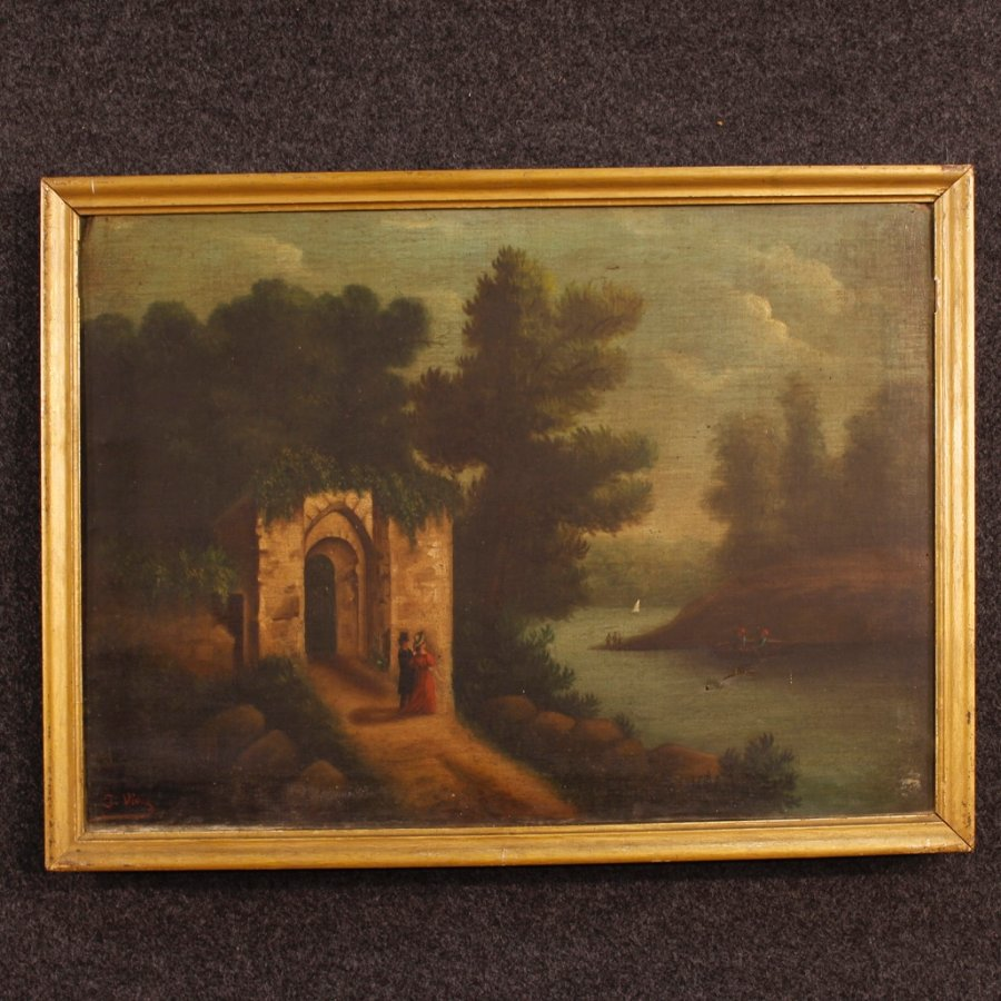 Antique Spanish painting landscape with ruins of the 19th century