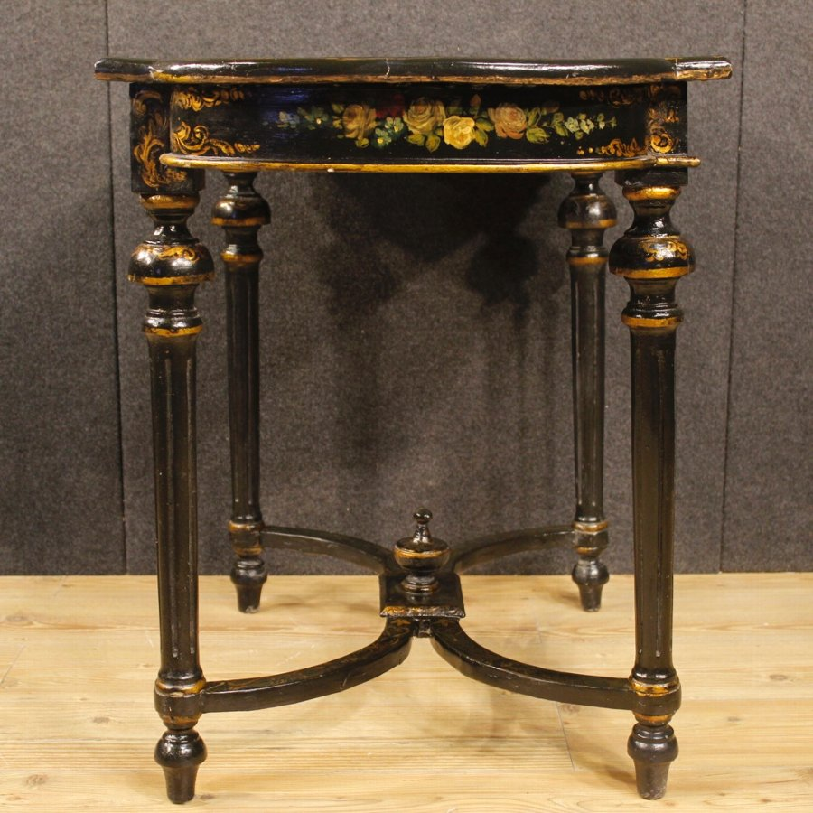 Antique French lacquered and painted side table with floral decorations