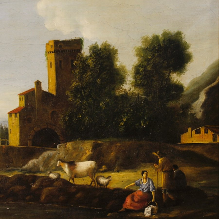 Antique Italian painting landscape with architectures and characters