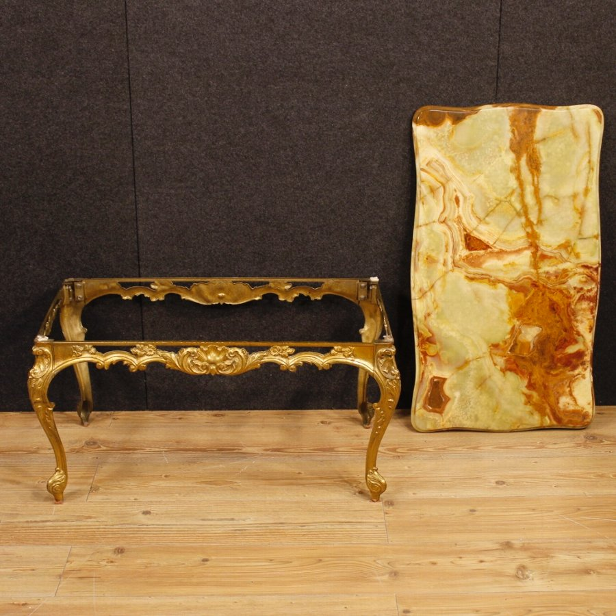 Antique Italian coffee table in gold metal with onyx top
