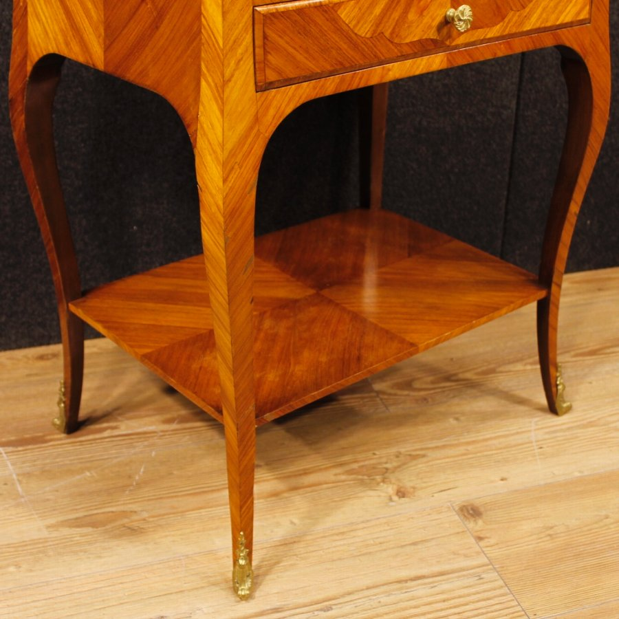 Antique French side table in rosewood and mahogany