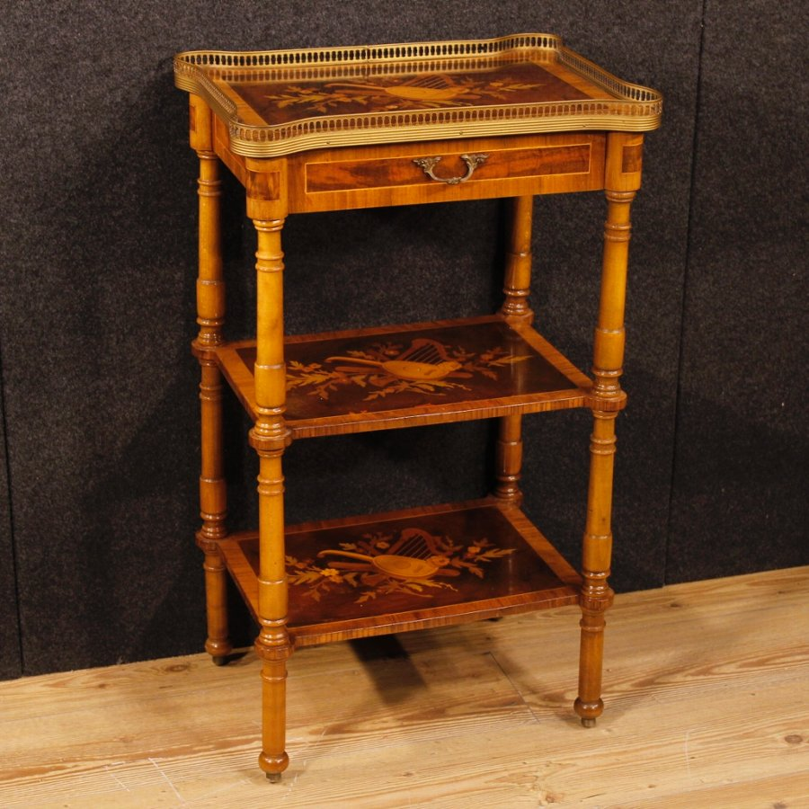 Antique Italian side table in walnut and rosewood