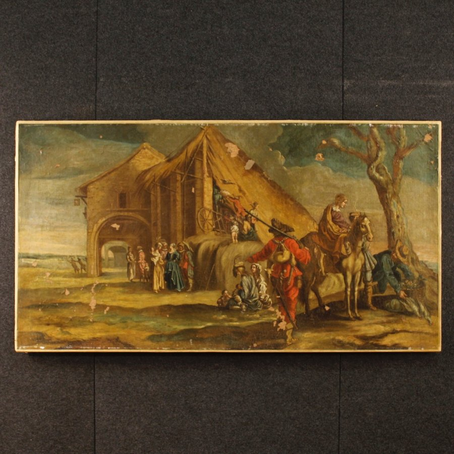 Antique Antique Italian painting landscape with characters of the 18th century