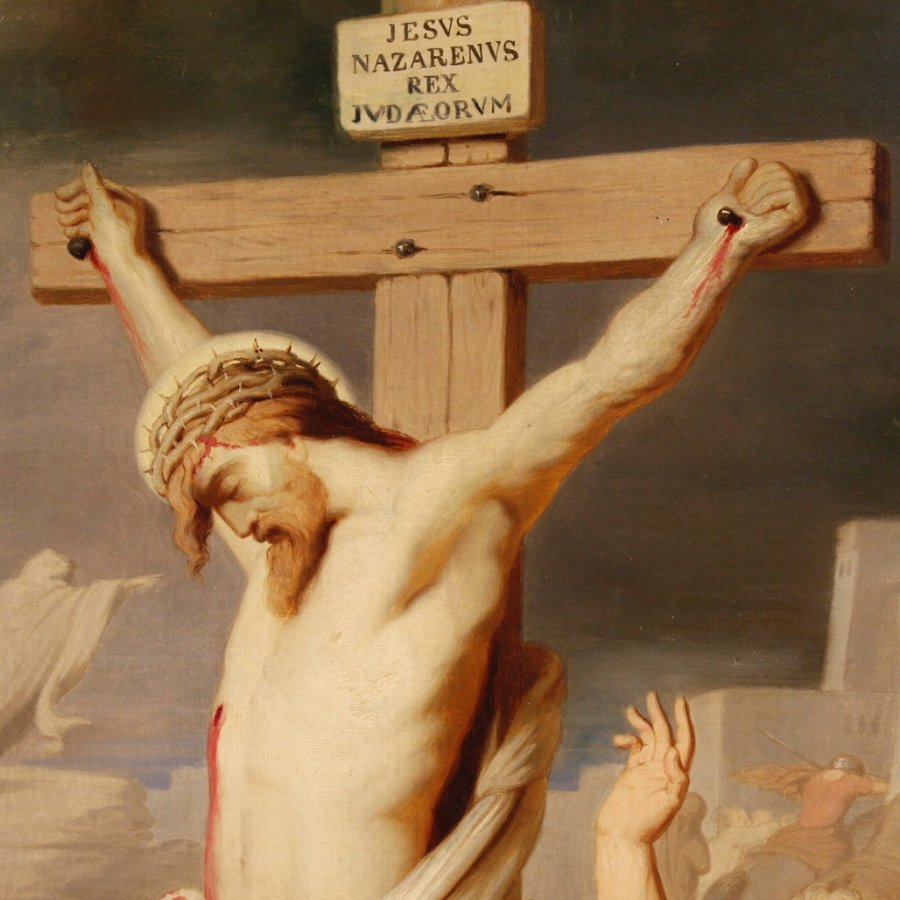 Antique Antique French religious painting Crucifixion of the 19th century