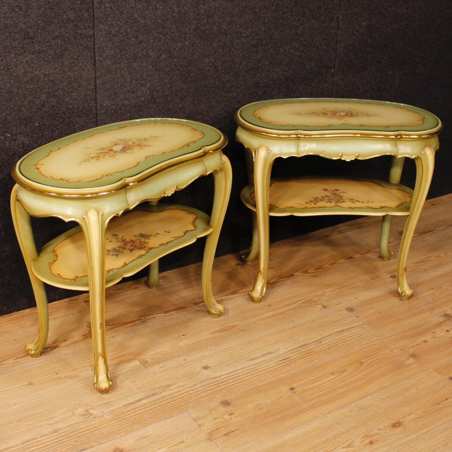 Pair of lacquered, golden and painted Italian bedside tables