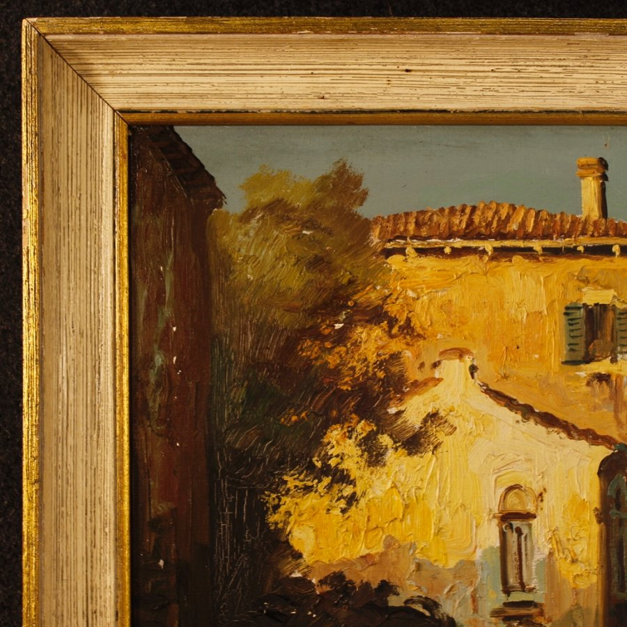 Antique Signed painting depicting Venice glimpse with gondola