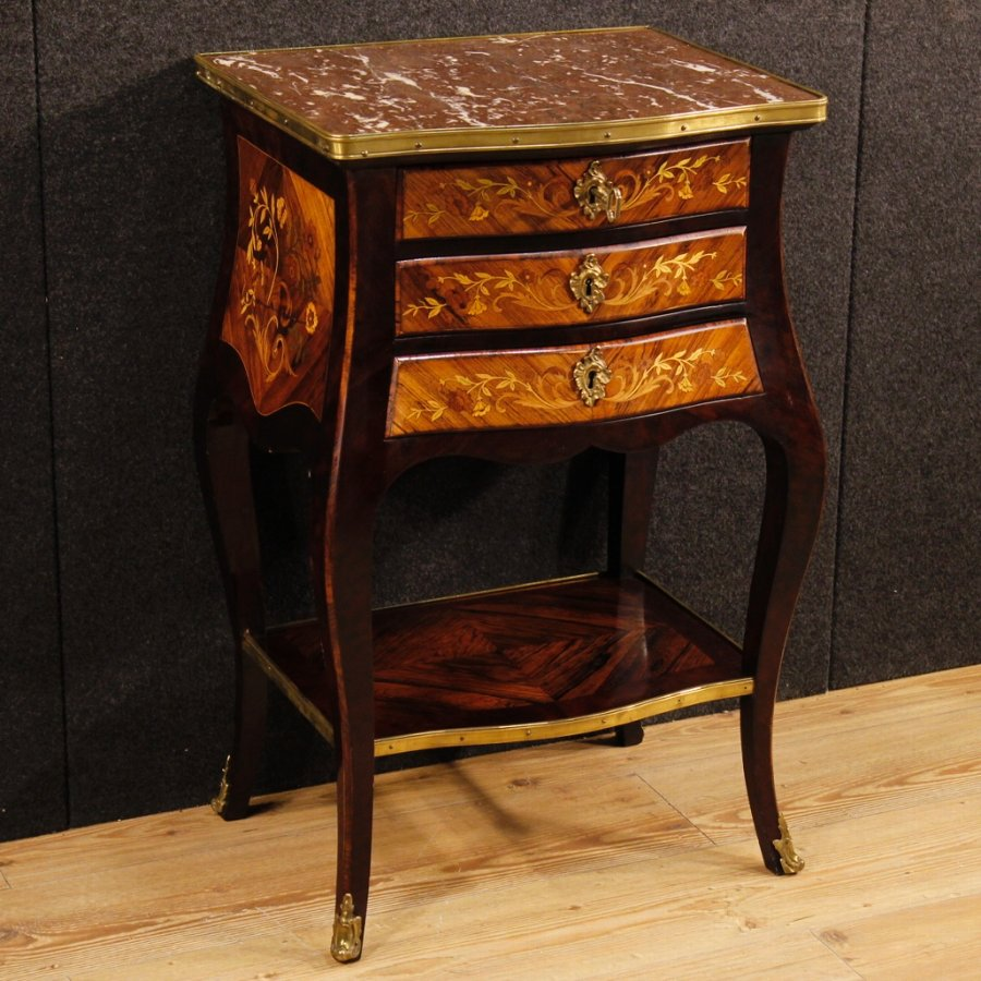 French inlaid night stand with marble top