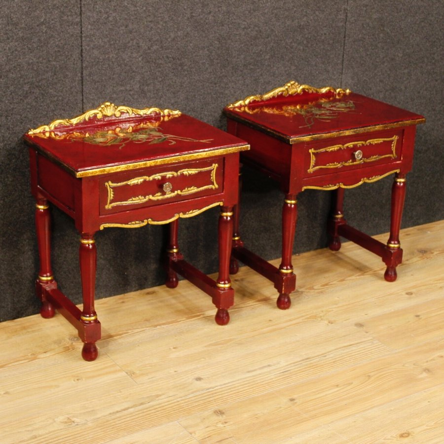 Pair of lacquered and golden Spanish bedside tables
