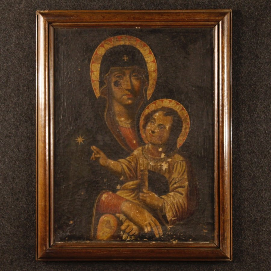 Antique Antique French painting Madonna with child from 18th century