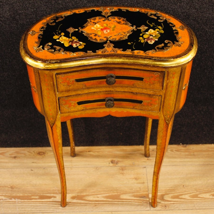 Antique Florentine lacquered, golden and painted side table