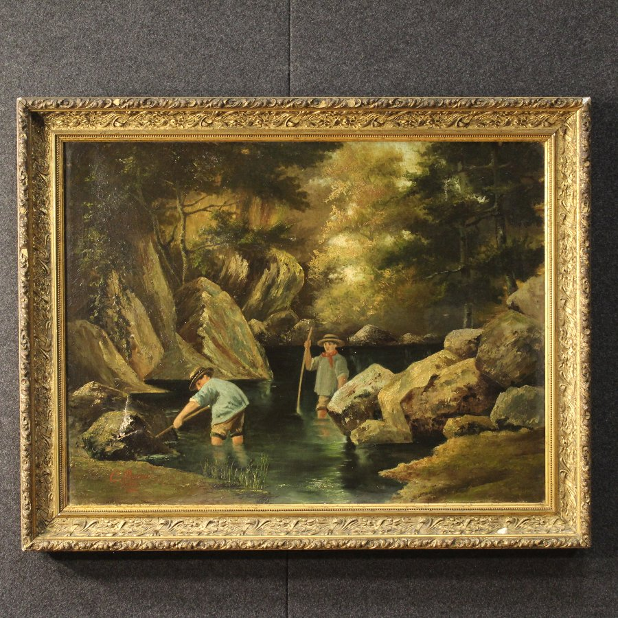 French signed painting Children at the river dated 1885