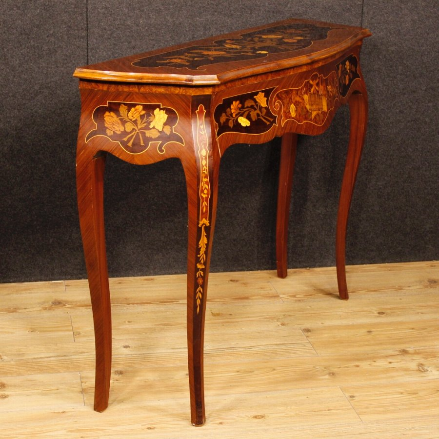 Antique Italian console table in inlaid wood