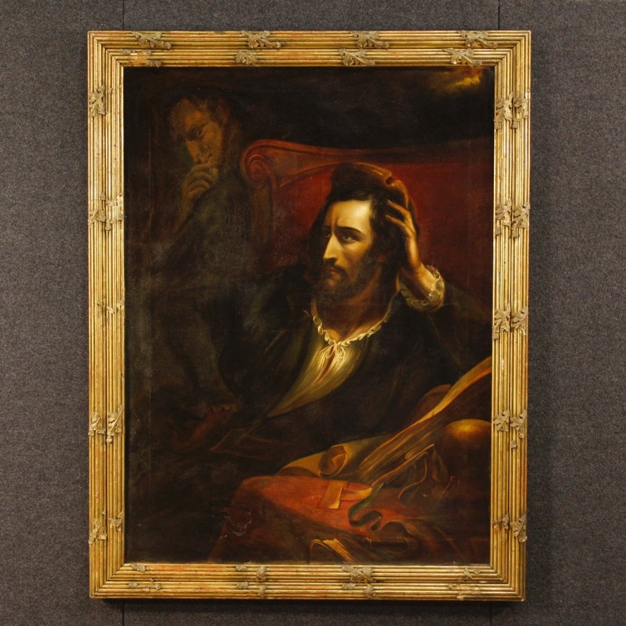 Antique French painting The Faust oil on canvas 19th century