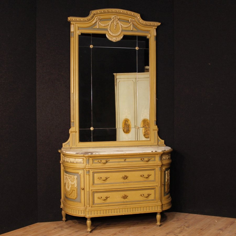 Antique Italian chest of drawers with mirror in lacquered wood in Louis XVI style
