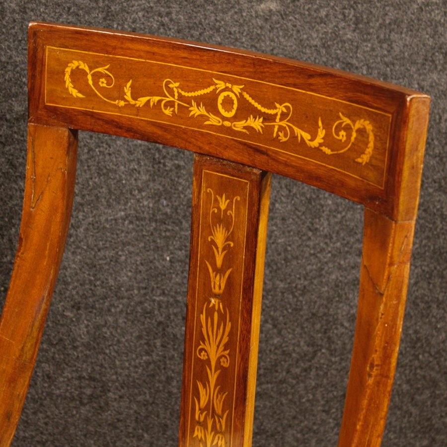 Antique Group of 6 Italian inlaid chairs in Charles X style