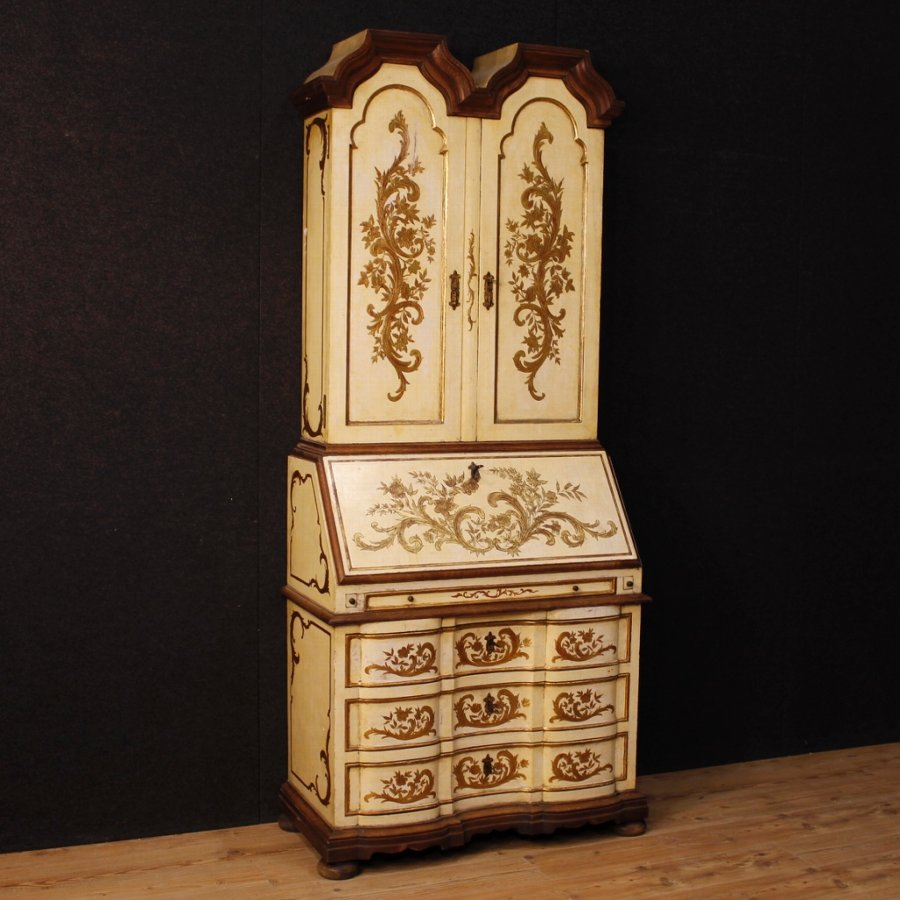 Spanish trumeau in lacquered and gilded wood