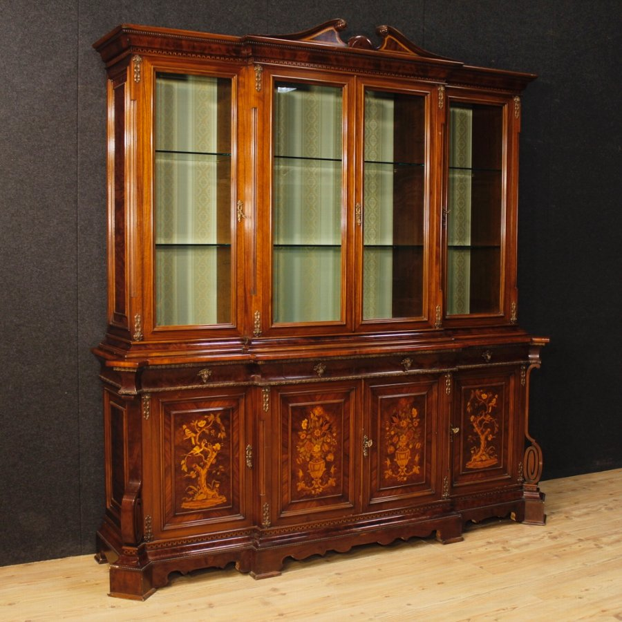 Italian bookcase in inlaid wood