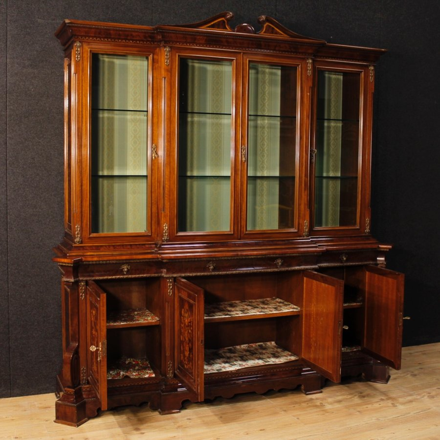 Antique Italian bookcase in inlaid wood