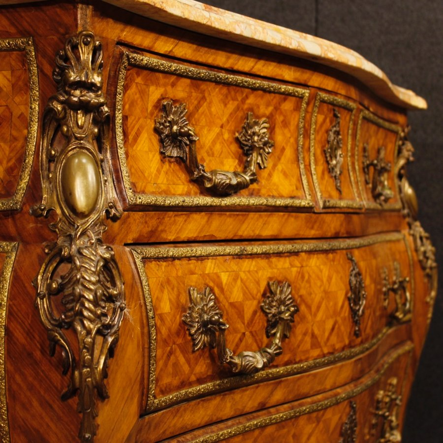 Antique French inlaid dresser in rosewood with marble top and bronzes