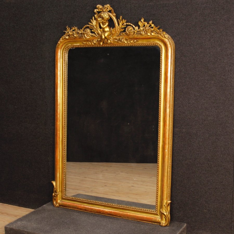 Antique French golden mirror from 19th century