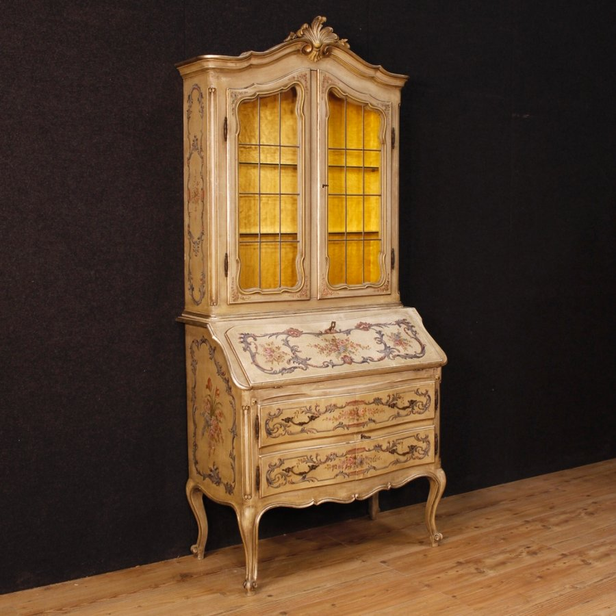 French trumeau in lacquered and painted wood