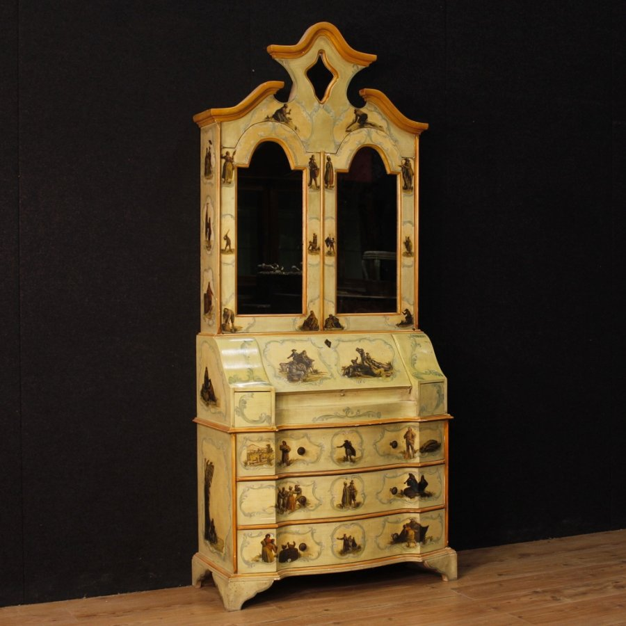 Venetian lacquered and painted trumeau