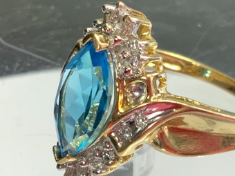 Antique Fine topaz diamonds ring 10 k gold .. .....offers considered