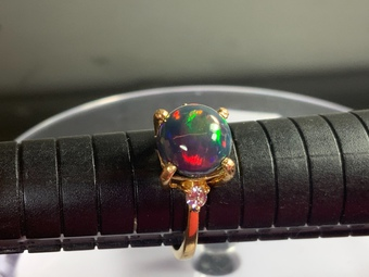 Antique Black opal gem diamonds 3 stone ring 18 k gold .. .....offers considered