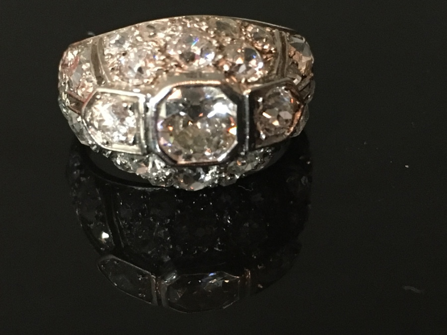 French Art Deco platinum ring