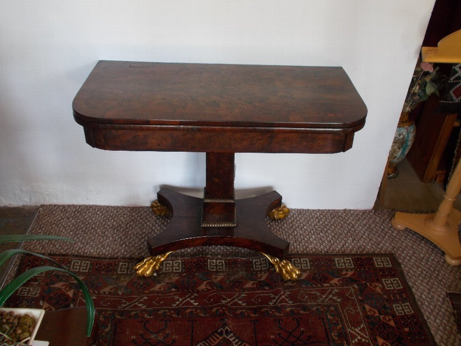 Superb William IV yew wood Card Table Original Baize C1810