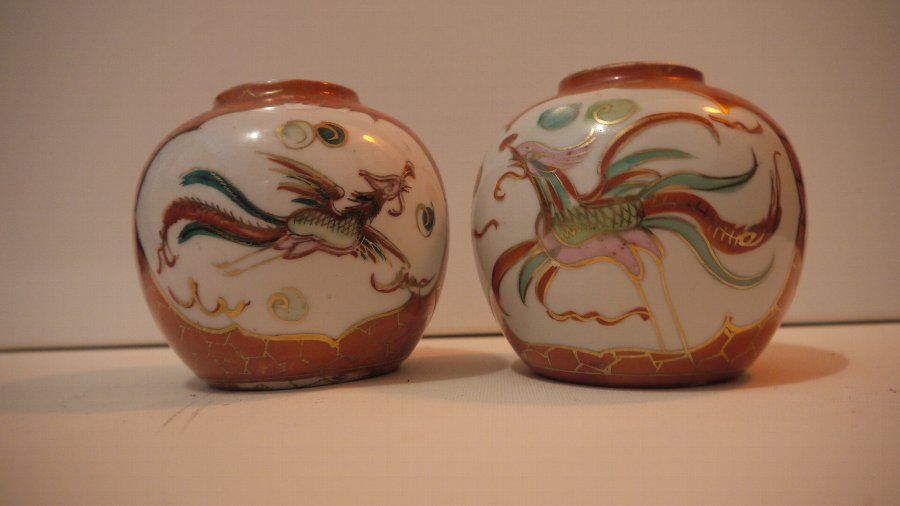 Pair Jingdezhen Vases, Dragon and Pheonix, hand painted, 19thc