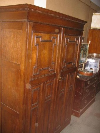Antique reproduction Jacobean style double wardrobe.