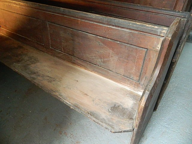 six enormous victorian pitch pine pews for wine bar etc