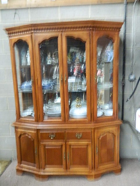 Massive modern pine display cabinet