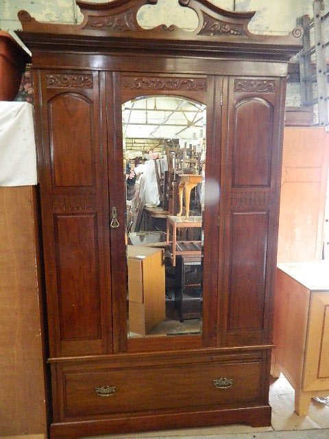 superb mid Victorian walnut wardrobe
