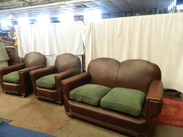 authentic 1920-s vintage hide leather and oak three piece suite