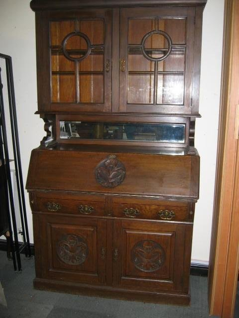 art nouveau antique bureau bookcase