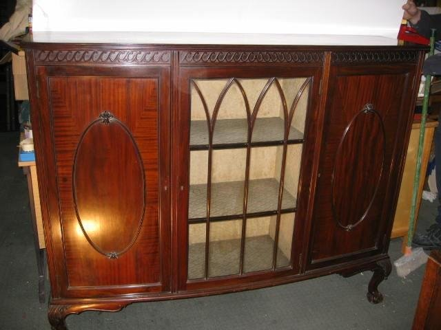 beautiful bow-fronted  mahogany display cabinet