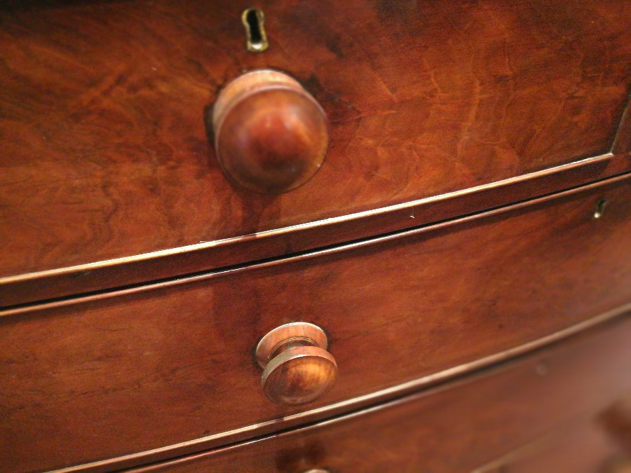 Antique Victorian mahogany bow fronted chest of drawers
