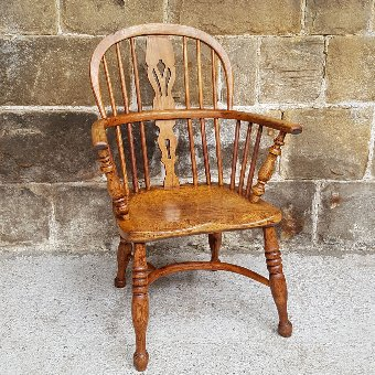 C19th Oak, Elm, Yew Wood Windsor Armchair Carver